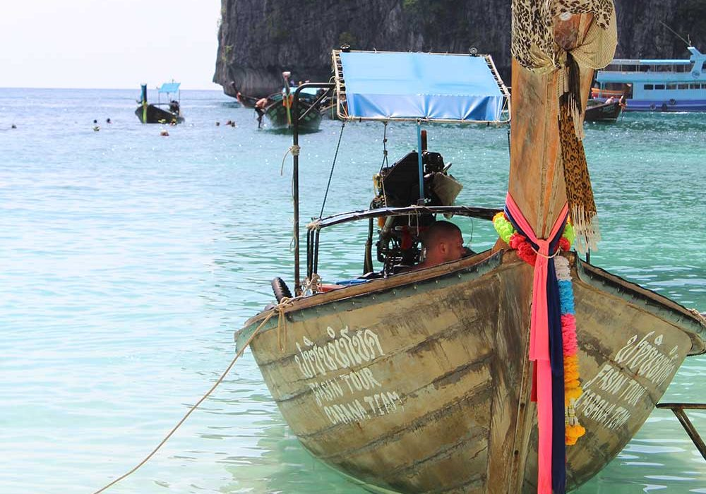 Maya Beach longtail boat
